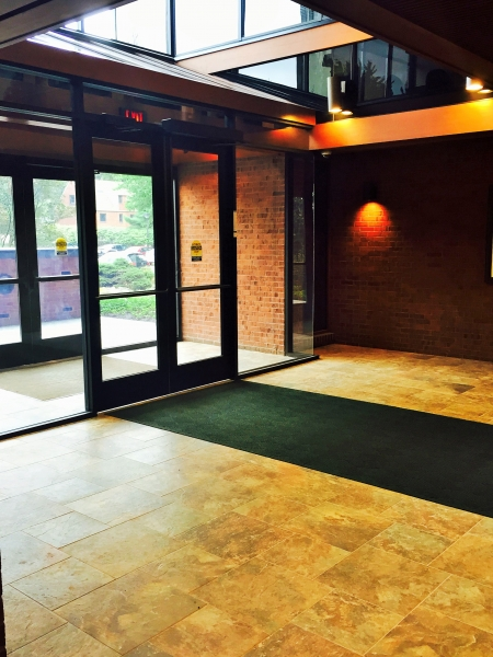 New accessible entrances, vestibule ceiling, and flooring.